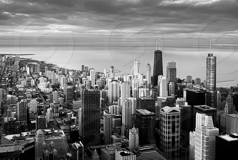 Panoramic black and white view of Chicago during a sunset. Travel destination. Lake Michigan in the background photo