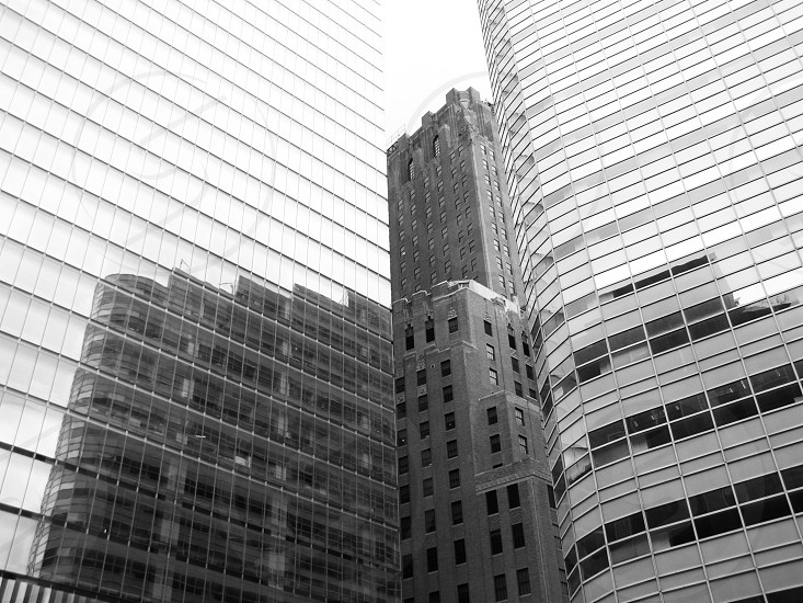 Reflection of buildings in mirroring surface New York Manhattan photo