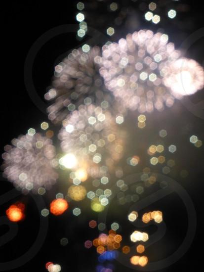 fireworks in black sky photo