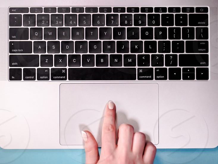 Computer Laptop keyword Desk Concept. Close up keys photo