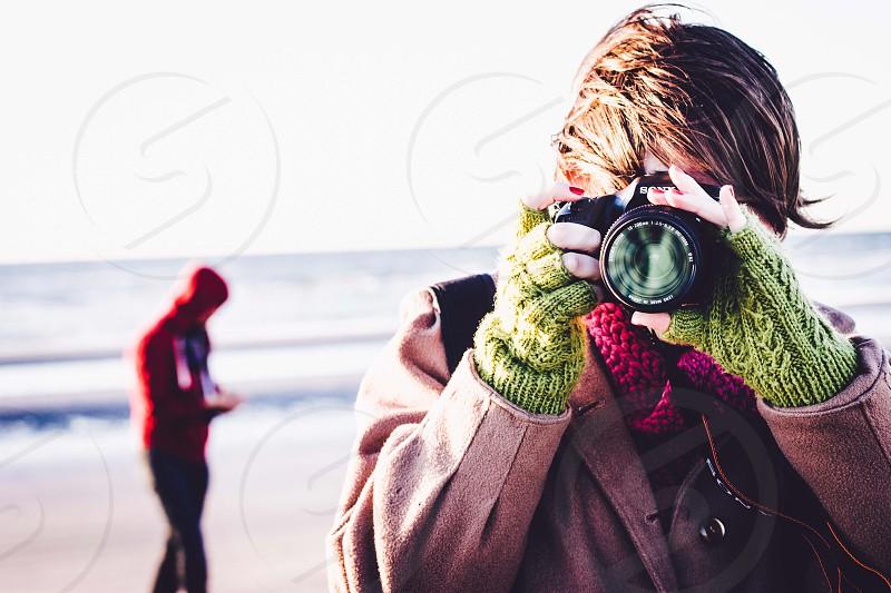 photographer camera beach photo