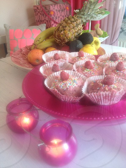 pink cupcakes in pink kitschen photo