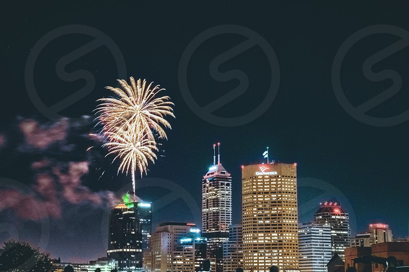 A firework show over Indianapolis Indiana from 2018 photo