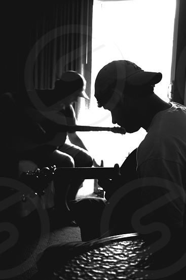 Guitars Acoustic Black & White Silhouette Bright Light Contrast Men  photo