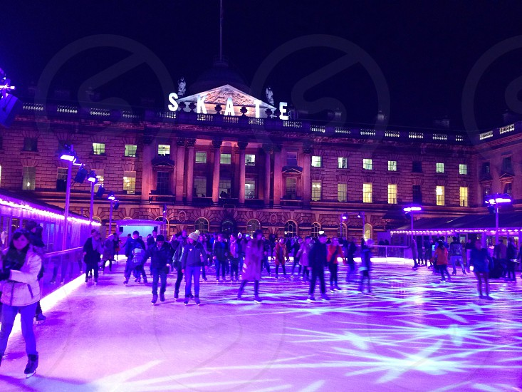 Somerset House ice skating . Christmas lights photo