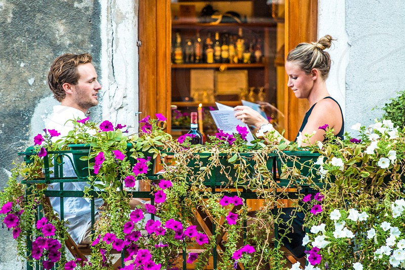 Couple Romantic Dinner In A Outdoor Restaurant Balcony photo