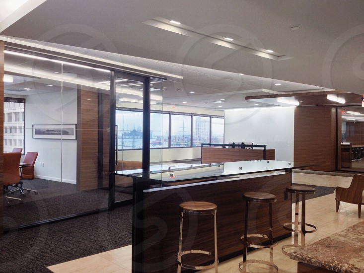 Modern corporate space. Conference room reception and casual meeting areas. photo