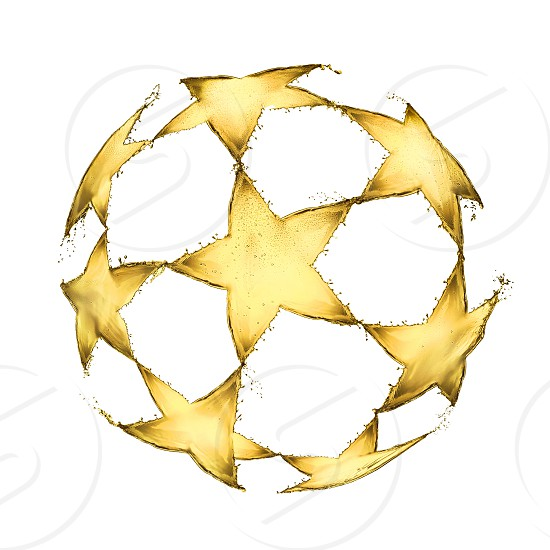 Football ball with yellow stars made of beer splashes in the shape of a ball isolated on white background. photo