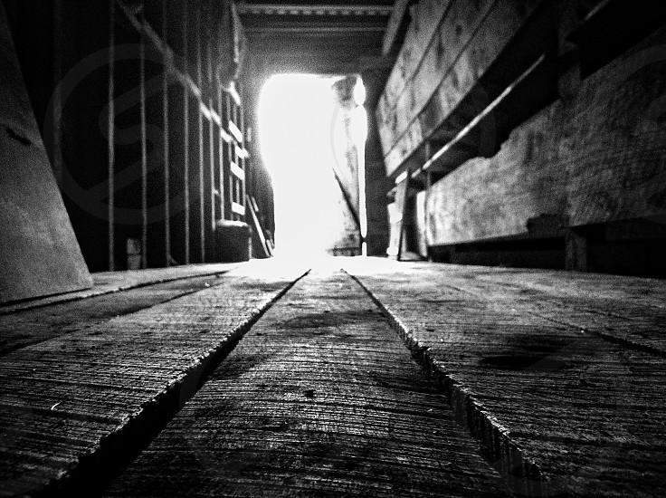 grayscale wood plank photo