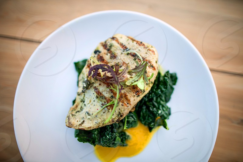 A tasty piece of grilled chicken sits on a bed of spinach and creamy yellow sauce. photo