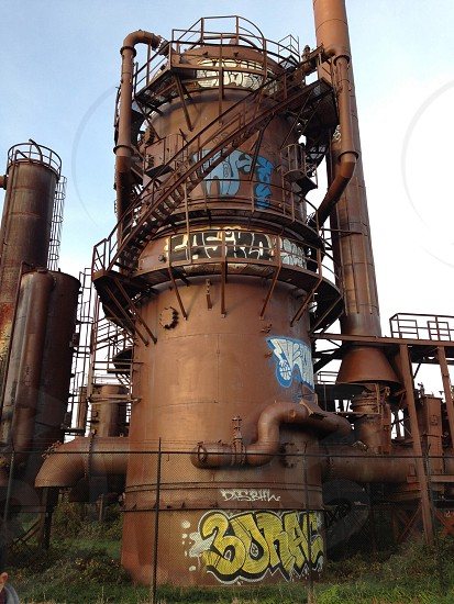 brown steel power plant photo