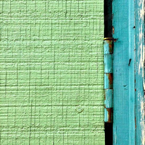 blue door hinge photo