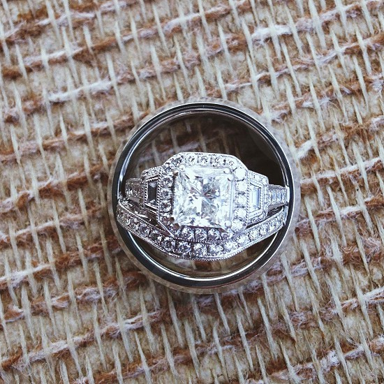 silver ring with diamonds photo