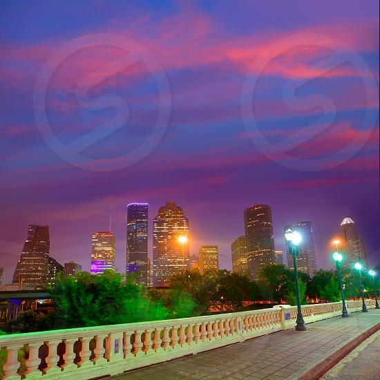 Houston skyline at sunset from Sabine St bridge Texas USA US America photo