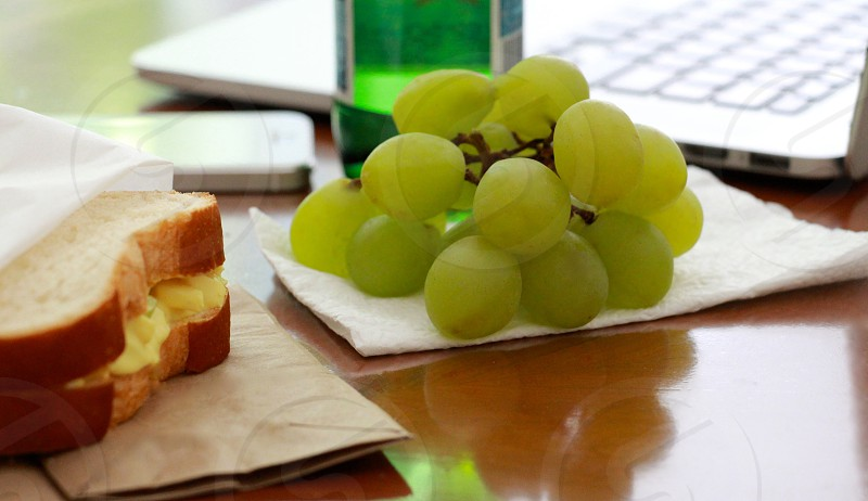 green grapes on white tissue photo