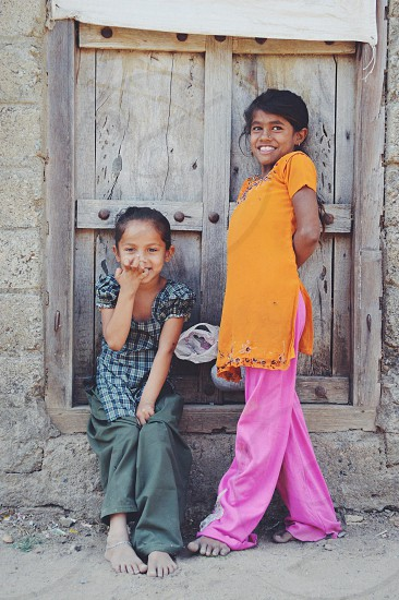 Village girls in Gujarat India  photo