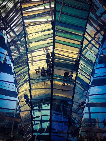 Indoor day horizontal colour atrium glass mirror reflect dome people tourists sightseers light shadow reichstag Berlin Germany deutschland politics parliament political tourism sightseeing travel wanderlust roof rooftop Europe European capital city photo