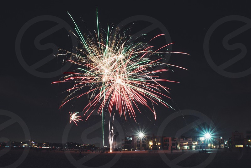 view of fireworks in the night sky photo
