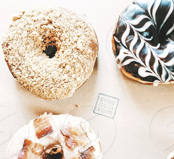 On the table food cooking kitchen dessert foodie flat lay donuts doughnuts sweets pastries baking bacon chocolate frosting union square donuts massachusetts photo