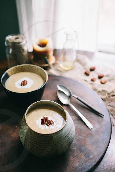 Soup acorn squash acorn pecan warm rustic home interior light soft delicious  photo