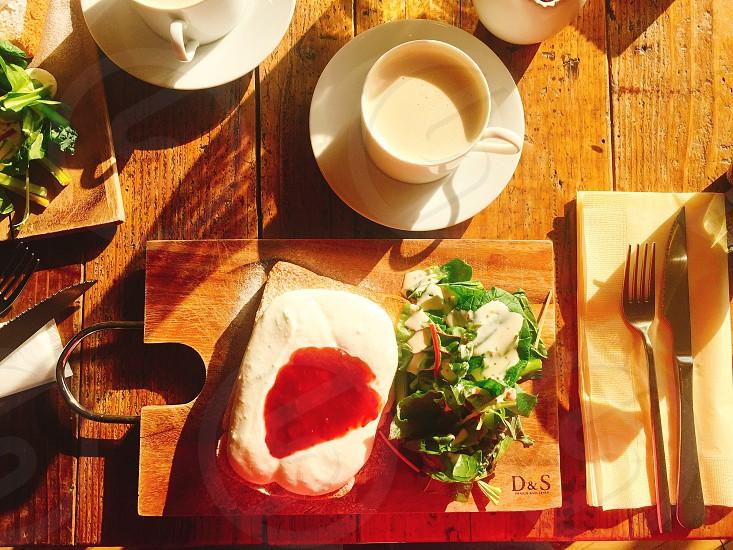 breakfast morning eat eating yum bread topshot  top toast coffee salad photo