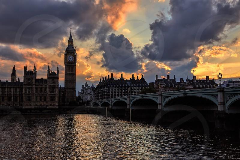 Big Ben Clock Tower London at Thames River England photo