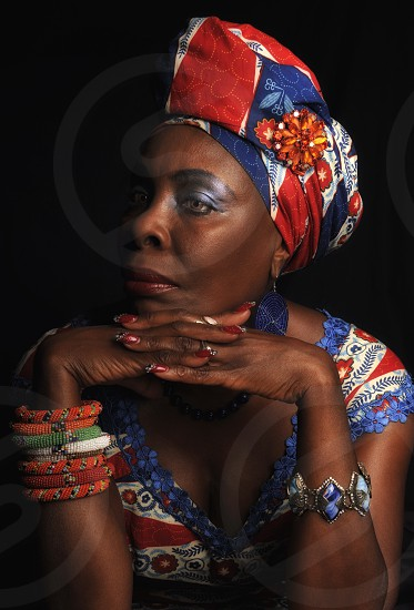 Portrait of stately African woman in traditional dress  photo