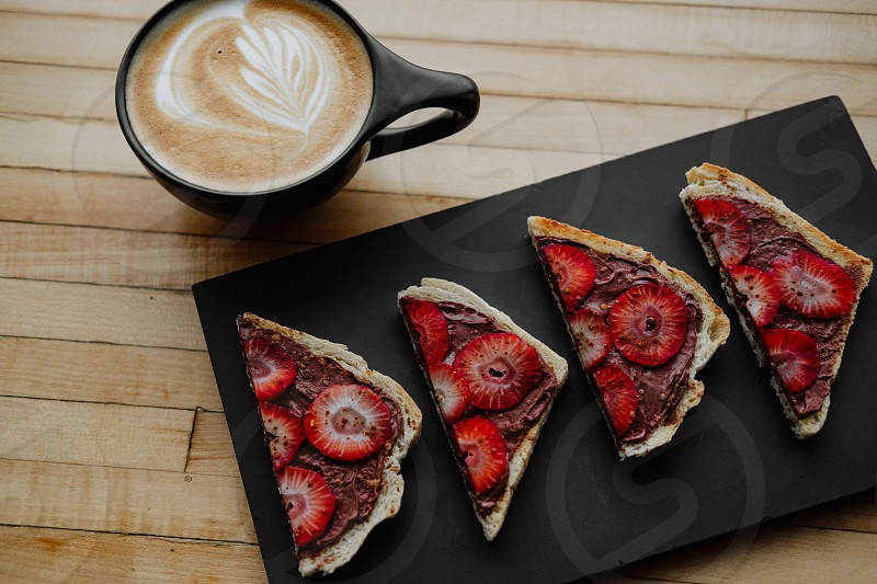 Cappuccino with strawberry Nutella toast  photo