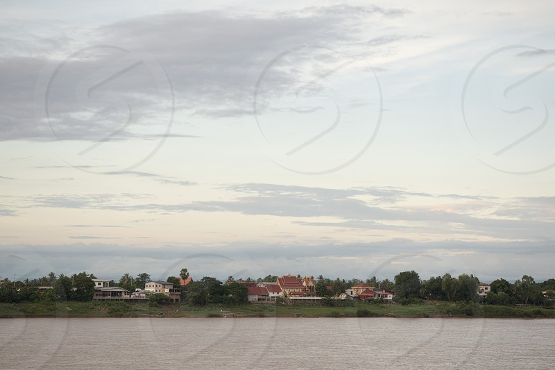 the landscape of the mekong river in the town of Nong Khai in Isan in north east Thailand on the Border to Laos photo