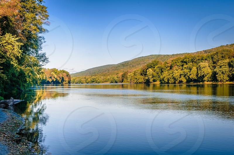 Early fall shot of the Delaware River in the Delaware Water Gap National Recreation Area. photo