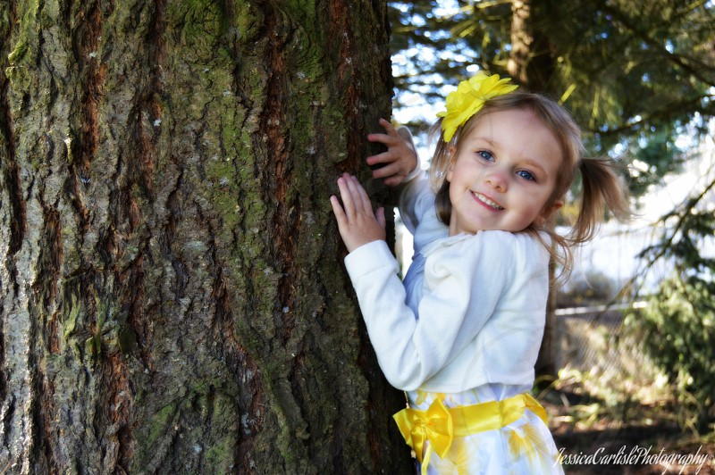 girl in white long sleeve top holding green and brown tree photo
