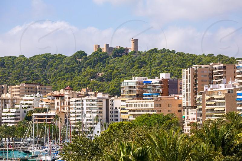 Palma de Majorca skyline with Bellver castle in Mallorca photo
