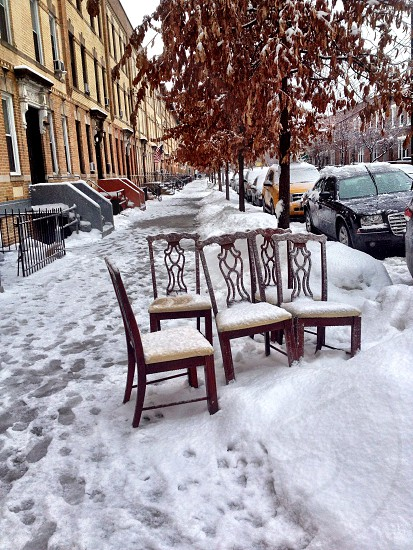 Chairs cold winter snow nyc New York photo