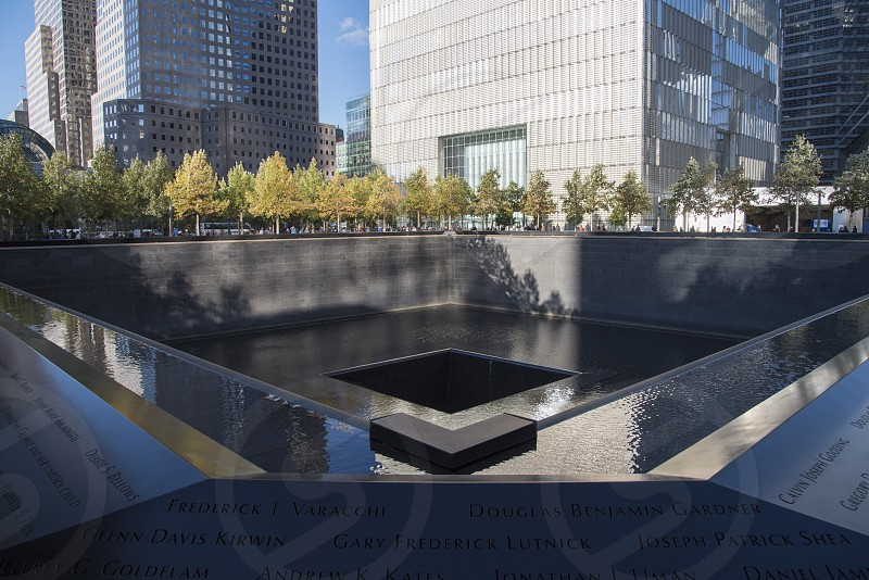 911 memorial grounds museum and fountains in New York City. photo