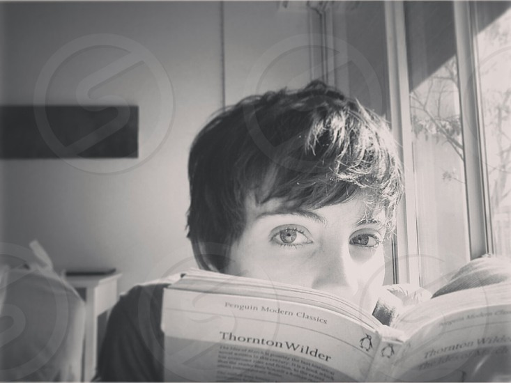 Girl pixie book girl reading black and white bedroom sunlight morning warm photo