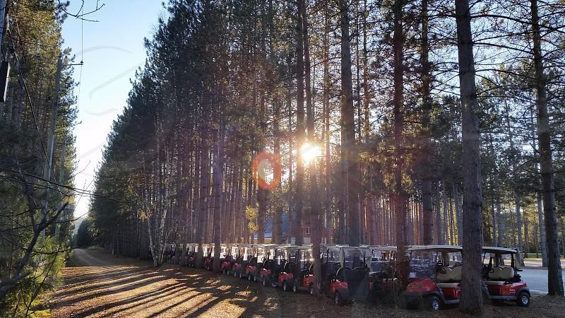 Hibernating carts... Too cold for golf.  Mt. Tremblant QC. photo