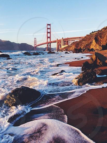 Marshall's Beach featuring The Golden Gate Bridge. San Francisco California.  photo