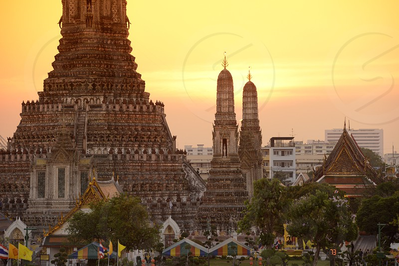 the Wat Arun at the Mae Nam Chao Phraya River in the city of Bangkok in Thailand in Southeastasia. photo