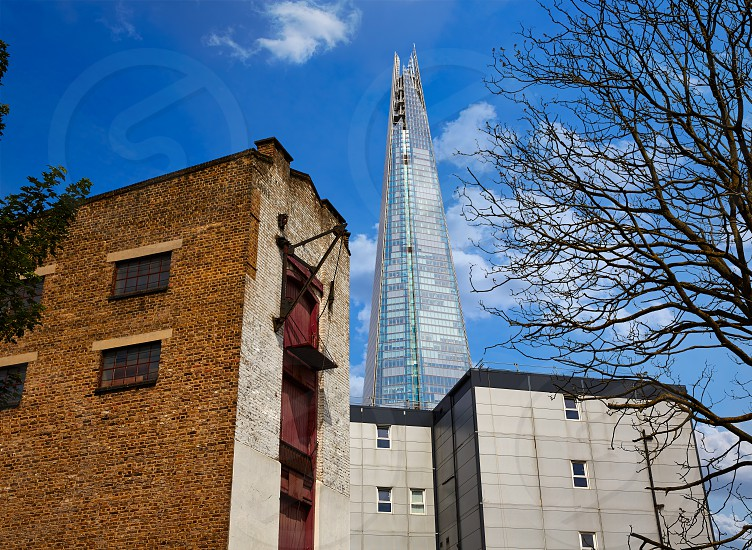 London shard view from Southwark old brick buildings in England photo
