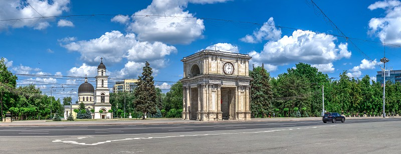 Chisinau Moldova – 06.28.2019. Stefan cel Mare Boulevard in the center of Chisinau capital of Moldova on a sunny summer day photo