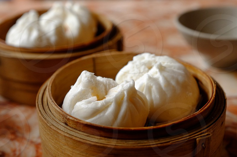 Cha siu bao 叉烧包 pork bun dim sum Cantonese barbecue-pork-filled bun photo
