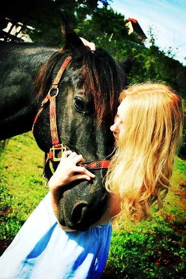 A girl and her horse photo
