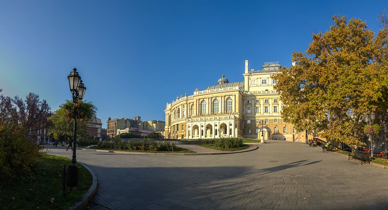 Odessa Ukraine - 09.11.2018. Early autumn morning on Primorsky Boulevard in Odessa Ukraine. Panoramic view photo