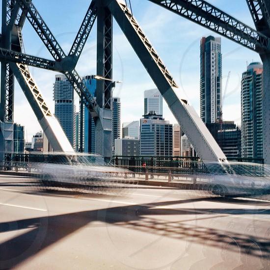 white and grey bridge steel frame photo