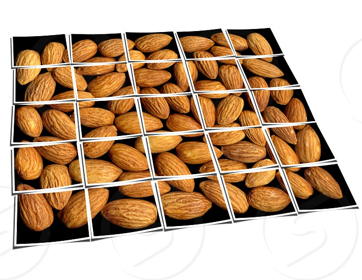 almonds on black background collage composition of multiple images over white photo