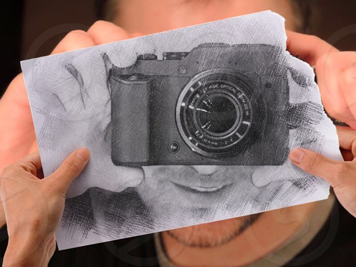 first person point of view photo of man's sketch holding camera photo