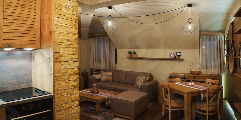 Interior of a small apartment wooden furniture and decoration.  photo