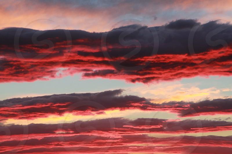 Purple clouds at sunset photo