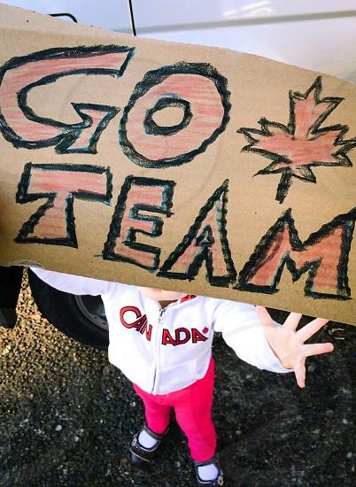 Go Team Canada Maple Leaf toddler Olympic sweatshirt red white black photo