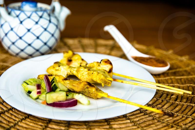 Thai chicken satay photo